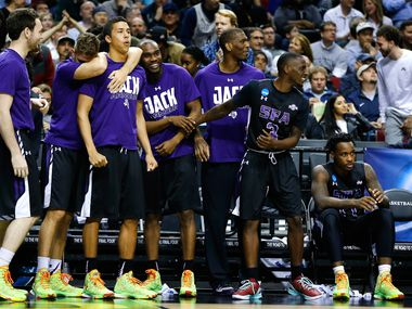 PORTLAND, OR - MARCH 19: The Stephen F. Austin Lumberjacks bench reacts in the second half against the Utah Utes during the second round of the 2015 NCAA Men's Basketball Tournament at Moda Center on March 19, 2015 in Portland, Oregon. (Photo by Jonathan Ferrey/Getty Images)