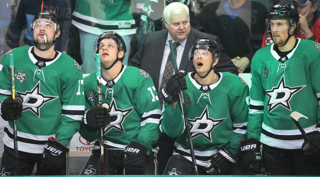 Dallas coach Ken Hitchcock is pictured on the bench during the Florida Panthers vs. the Dallas Stars NHL hockey game at the American Airlines Center in Dallas on Tuesday, January 23, 2018. (Louis DeLuca/The Dallas Morning News)