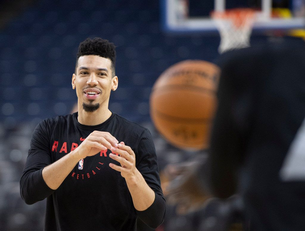 Toronto Raptors' Danny Green receives a pass during practice for the NBA Finals against the Golden State Warriors Tuesday, June 4, 2019, in Oakland, Calif. Game 3 of the NBA Finals is Wednesday, June 5, 2019 in Oakland, Calif. /Frank Gunn/The Canadian Press via AP)