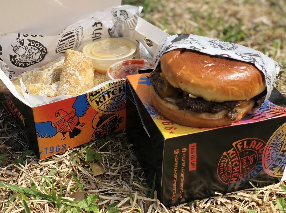 Guy Fieri's Flavortown Kitchen sells items like cheesesteak egg rolls (left) and bacon mac and cheese burgers, all for delivery only. So far, the kitchens can deliver to Allen, Frisco, Southlake and central Dallas.