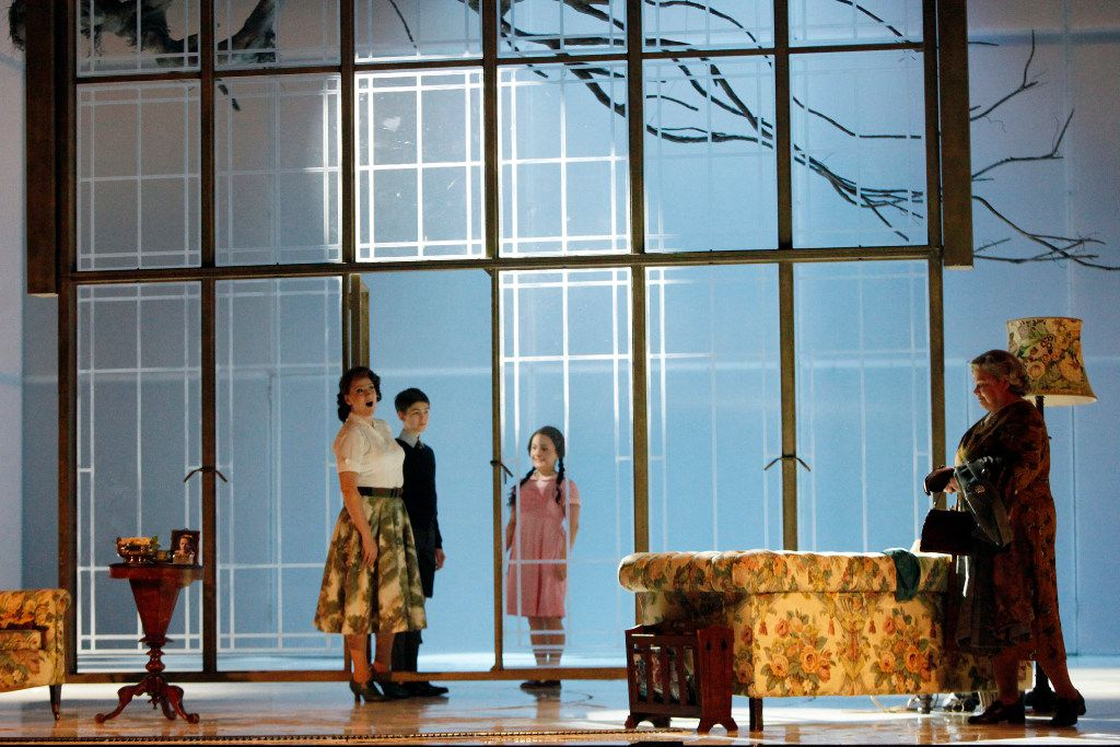 """From left, Emma Bell (Governess), Oliver Nathanielsz (Miles), Ashley Emerson (Flora) and Dolora Zajick (Mrs. Grose) during  a dress rehearsal of """"The Turn of the Screw,"""" performed by the Dallas Opera, Wednesday evening, March 08, 2017 at the Winspear Opera House in Downtown Dallas. Ben Torres/Special Contributor"""