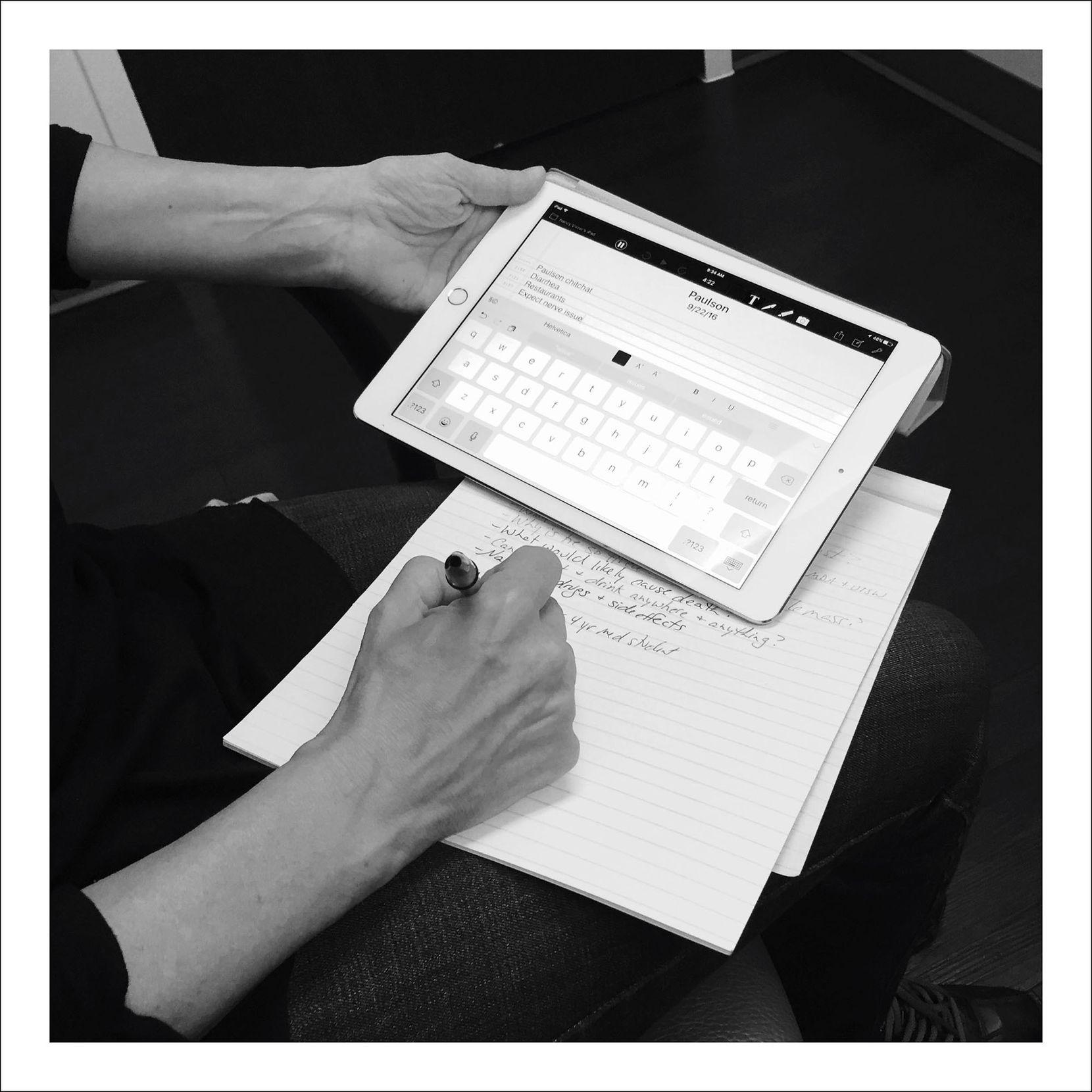 9/22/16 — [My wife] Nancy [Visser] the notetaker.