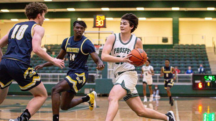 Prosper's Luke Chaney #23 goes for a point against McKinney High School during boys basketball game in Prosper on Tuesday, December 22, 2020.