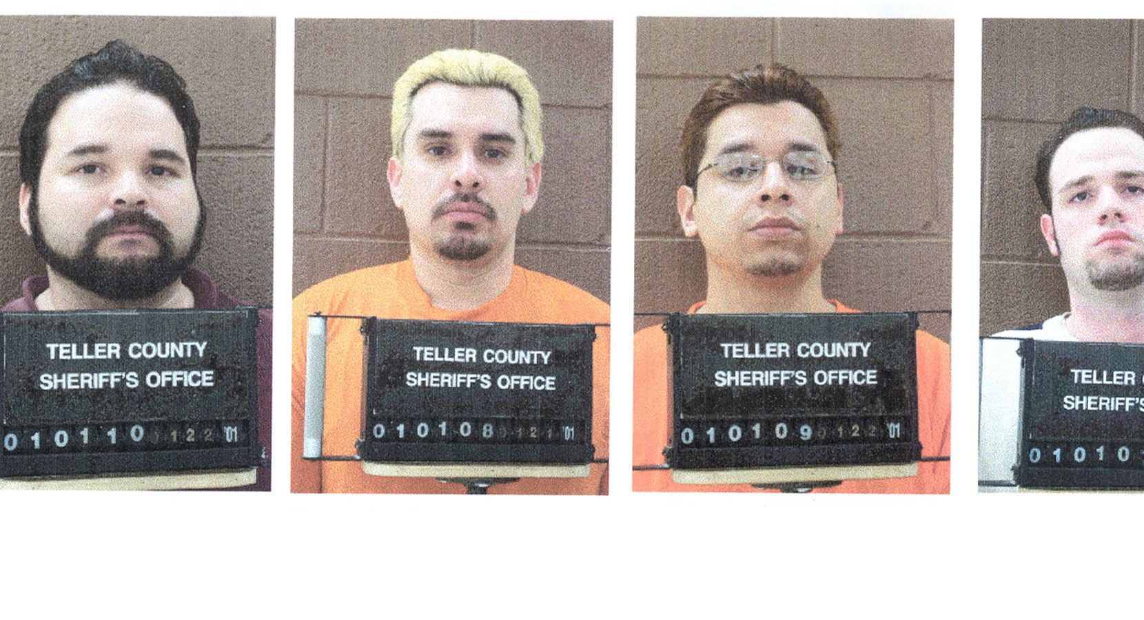 The Teller County Sheriff's office released the booking mug shots of the four Texas prison escapees who were apprehended in Woodland Park, Colo., in  2001. From left: Michael Anthony Rodriguez, George Angel Rivas, Joseph Christopher Garcia and Randy Ethan Halprin.
