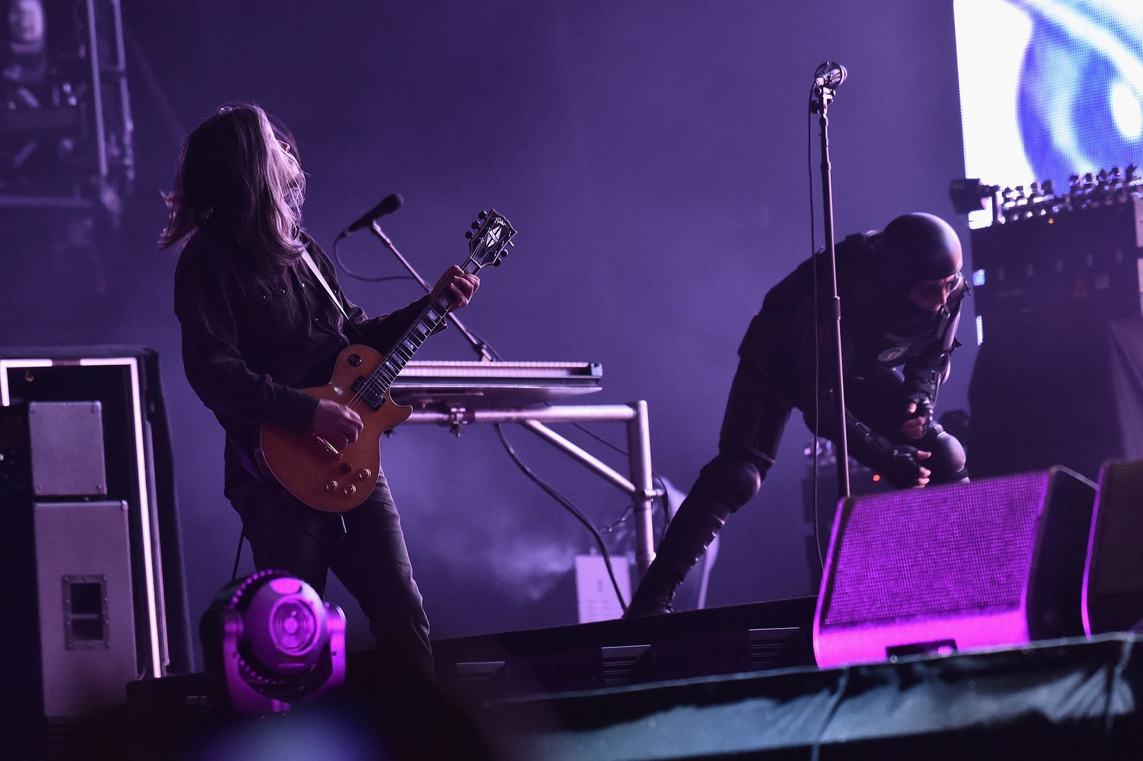 Adam Jones and Maynard James Keenan of Tool perform onstage during the 2017 Governors Ball Music Festival on June 4, 2017 in New York City.