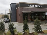 The Starbucks in the parking lot of Southwest Center Mall.