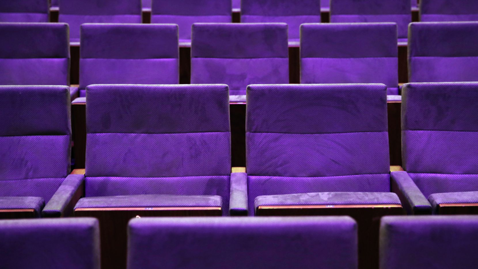 Rows of theater seats are pictured in Dallas on Monday, Dec. 10, 2018.