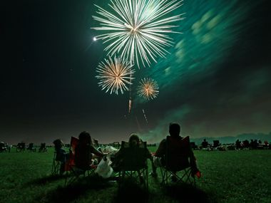 Fireworks explode over Breckinridge Park in Richardson, Texas, Tuesday, July 4, 2017.
