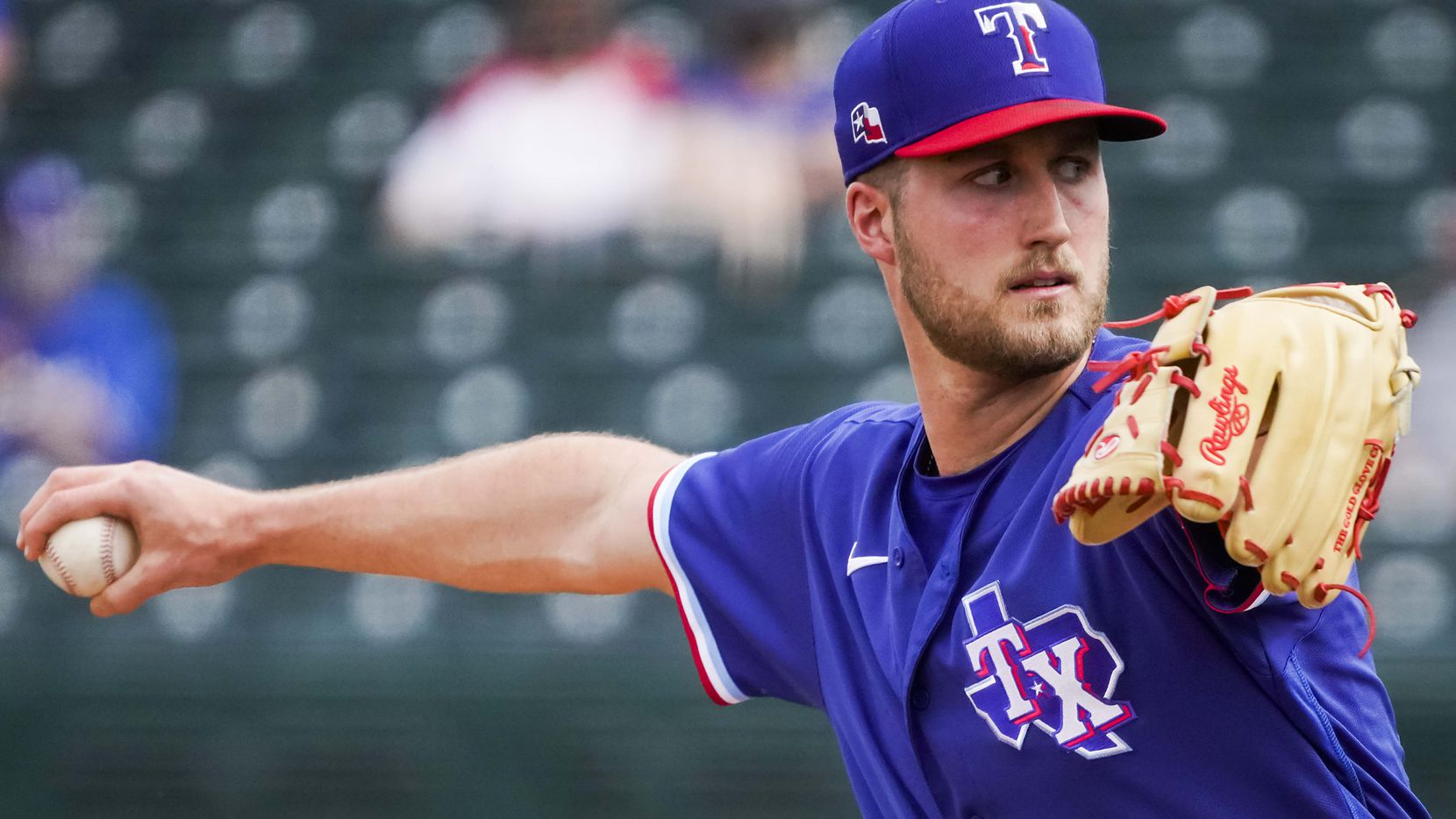 Rangers pitcher Kyle Cody delivers during the fourth inning of a spring training game against the Dodgers at Surprise Stadium on Sunday, March 7, 2021, in Surprise, Ariz.