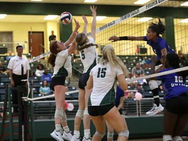 Denton Guyer's Kyndal Stowers hits a shot past the Prosper defense during Guyer's 25-23, 28-26, 29-31, 25-23 victory Tuesday. Stowers had 29 kills in the match. (Jason Janik/Special Contributor)