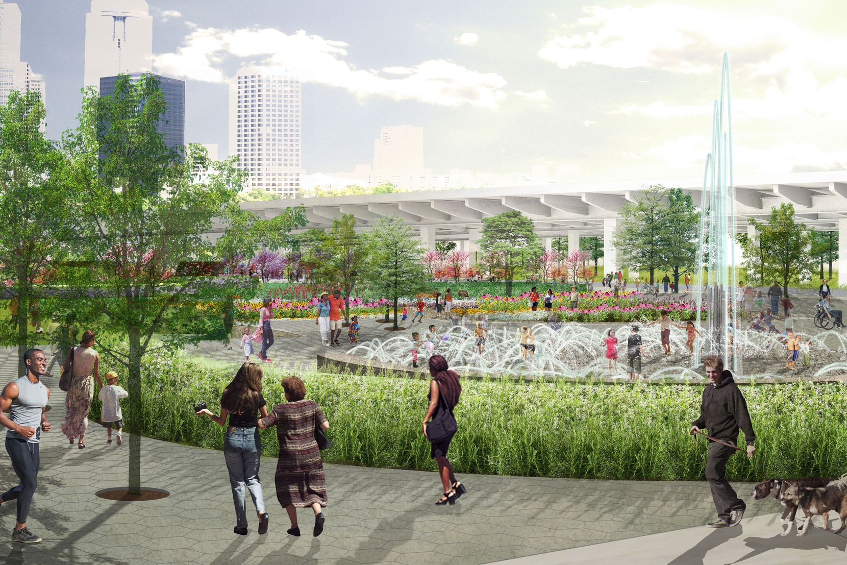 This Carpenter Park rendering shows the planned water feature and children's splash area. The park's completion date is set for the end of the first quarter of 2022.