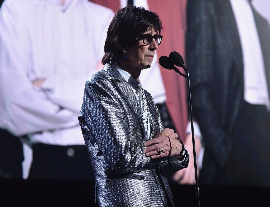 Inductee Ric Ocasek speaks onstage during the 33rd Annual Rock & Roll Hall of Fame Induction Ceremony at Public Auditorium on April 14, 2018 in Cleveland, Ohio.