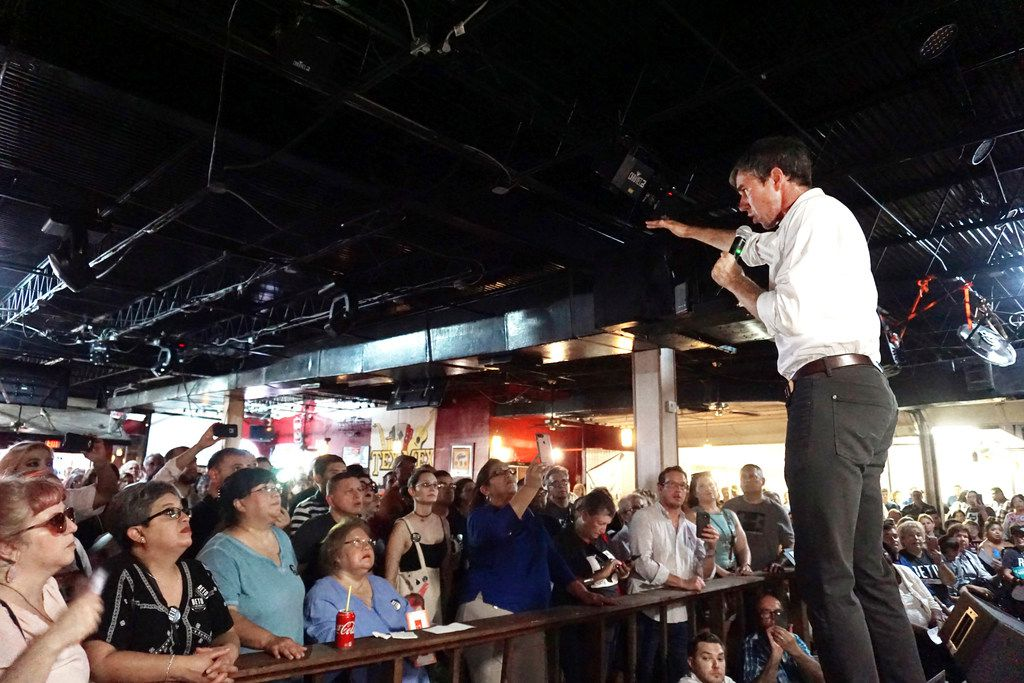 U.S. Rep. Beto O'Rourke, a Democratic candidate for U.S. Senate in Texas, spoke to a large crowd of supporters Saturday at Tex-Mex Night Club in Brownsville.