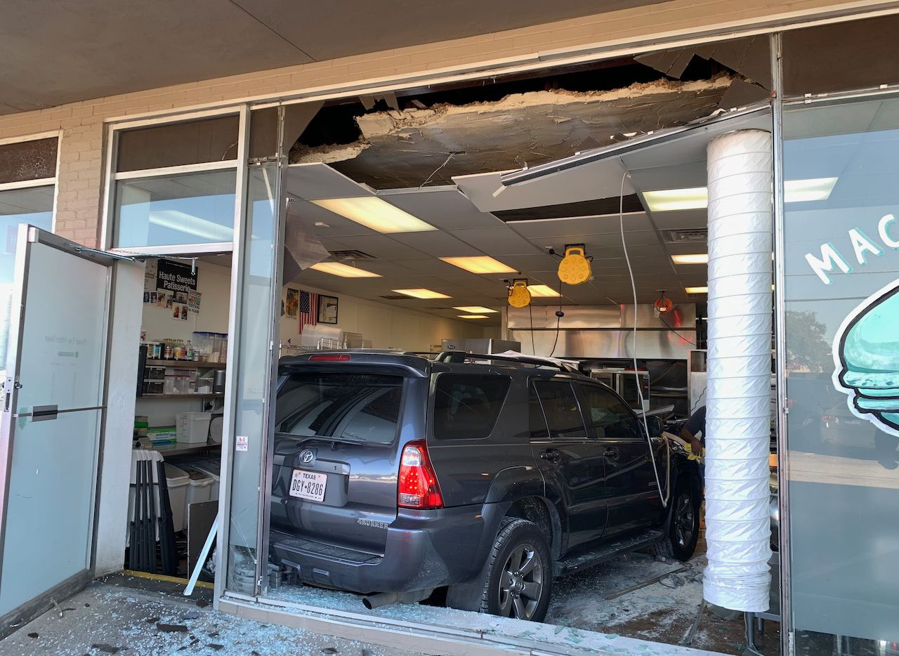 An SUV crashed into Haute Sweets Patisserie on Northwest Highway in the Lake Highlands/White Rock area on Nov. 17, 2020.