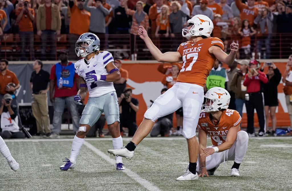 Texas' Cameron Dicker (17) watches his last-second winning field goal against Kansas State during the second half of an NCAA college football game in Austin, Texas, Saturday, Nov. 9, 2019. (AP Photo/Chuck Burton)