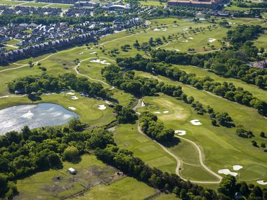 Aerial view of TPC Craig Ranch golf course on Thursday, April 16, 2020, in McKinney, Texas.