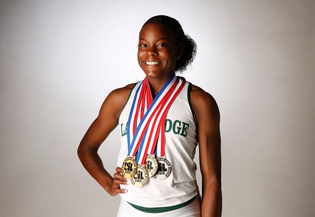 Mansfield Lake Ridge junior Jasmine Moore, All-Area Girls Track and Field Athlete of the Year, poses for a photograph in The Dallas Morning News photo studio on Thursday, May 24, 2018. (Rose Baca/The Dallas Morning News)