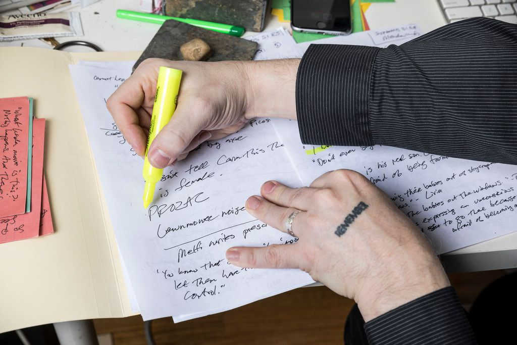 Matt Zoller Seitz works on notes on for his upcoming book,The Soprano Sessions, at his home in Brooklyn.
