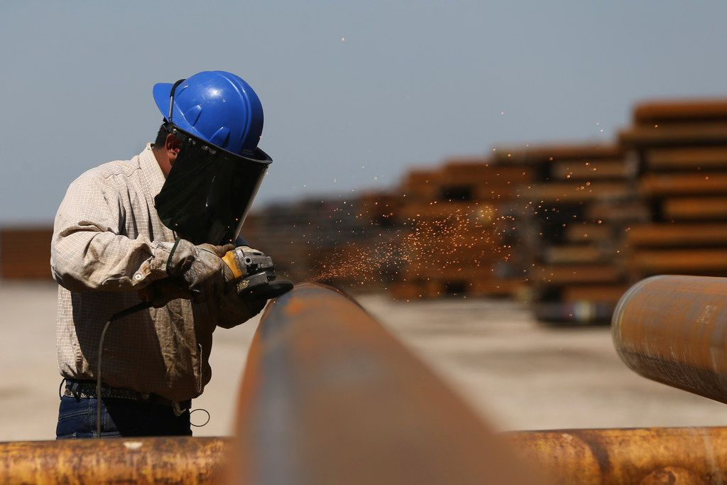 A 25 percent tariff on steel could mean additional costs of some $30 million a year for Borusan Mannesmann, the company said. Here, Jose Mata grinds a steel pipe at the company's plant in Baytown.