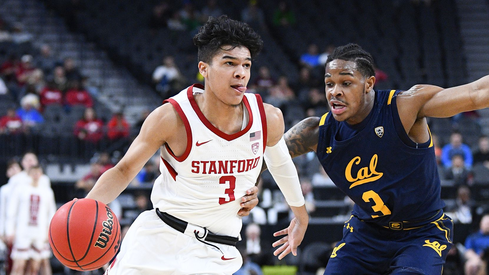 LAS VEGAS, NV - MARCH 11: Stanford Cardinal guard Tyrell Terry (3) drives to the basket against California Golden Bears guard Paris Austin (3) during the first round game of the men's Pac-12 Tournament between the Stanford Cardinal and the California Bears on March 11, 2020, at the T-Mobile Arena in Las Vegas, NV.