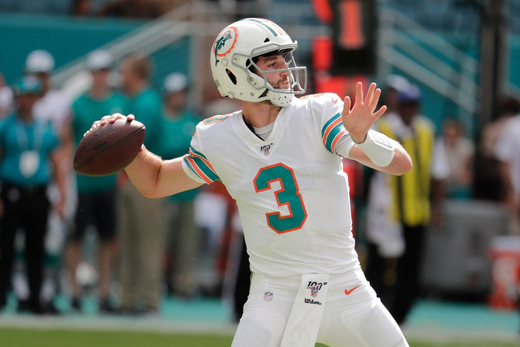 Miami Dolphins quarterback Josh Rosen (3) looks to pass, during the second half at an NFL football game against the New England Patriots, Sunday, Sept. 15, 2019, in Miami Gardens, Fla.