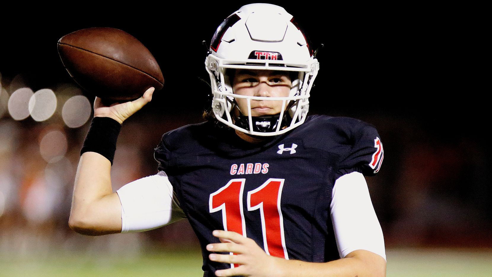 Melissa High School quarterback Sam Fennegan (11) throws a pass during the first half as Melissa High School hosted Celina High School at Cardinal Field in Melissa on Friday night, August 27, 2021. (Stewart F. House/Special Contributor)