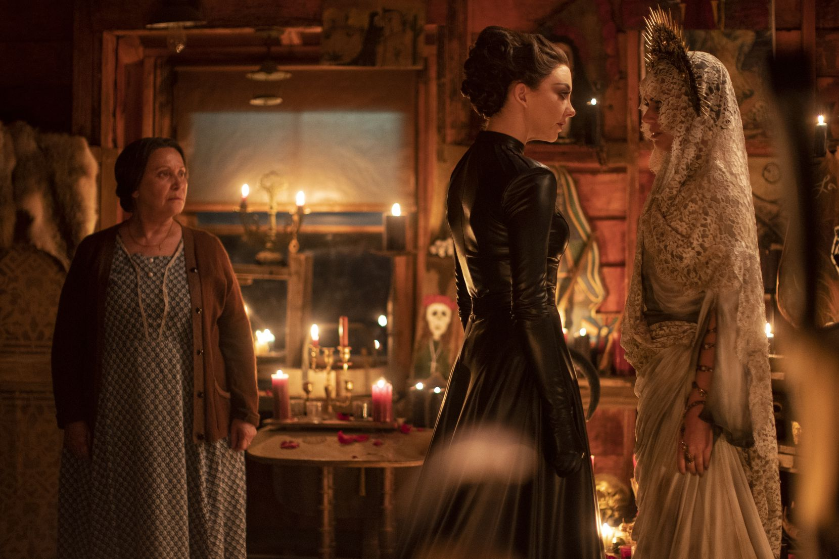 "From left, Adriana Barraza as Maria Vega, Natalie Dormer as Magda and Lorenza Izzo as Santa Muerte in Showtime's ""Penny Dreadful: City of Angels."""
