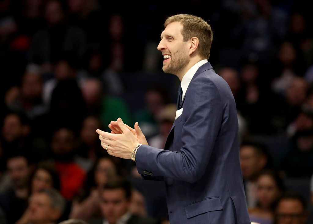 CHARLOTTE, NORTH CAROLINA - FEBRUARY 15: Dirk Nowitzki looks on during the 2019 Mtn Dew ICE Rising Stars at Spectrum Center on February 15, 2019 in Charlotte, North Carolina. (Photo by Streeter Lecka/Getty Images)