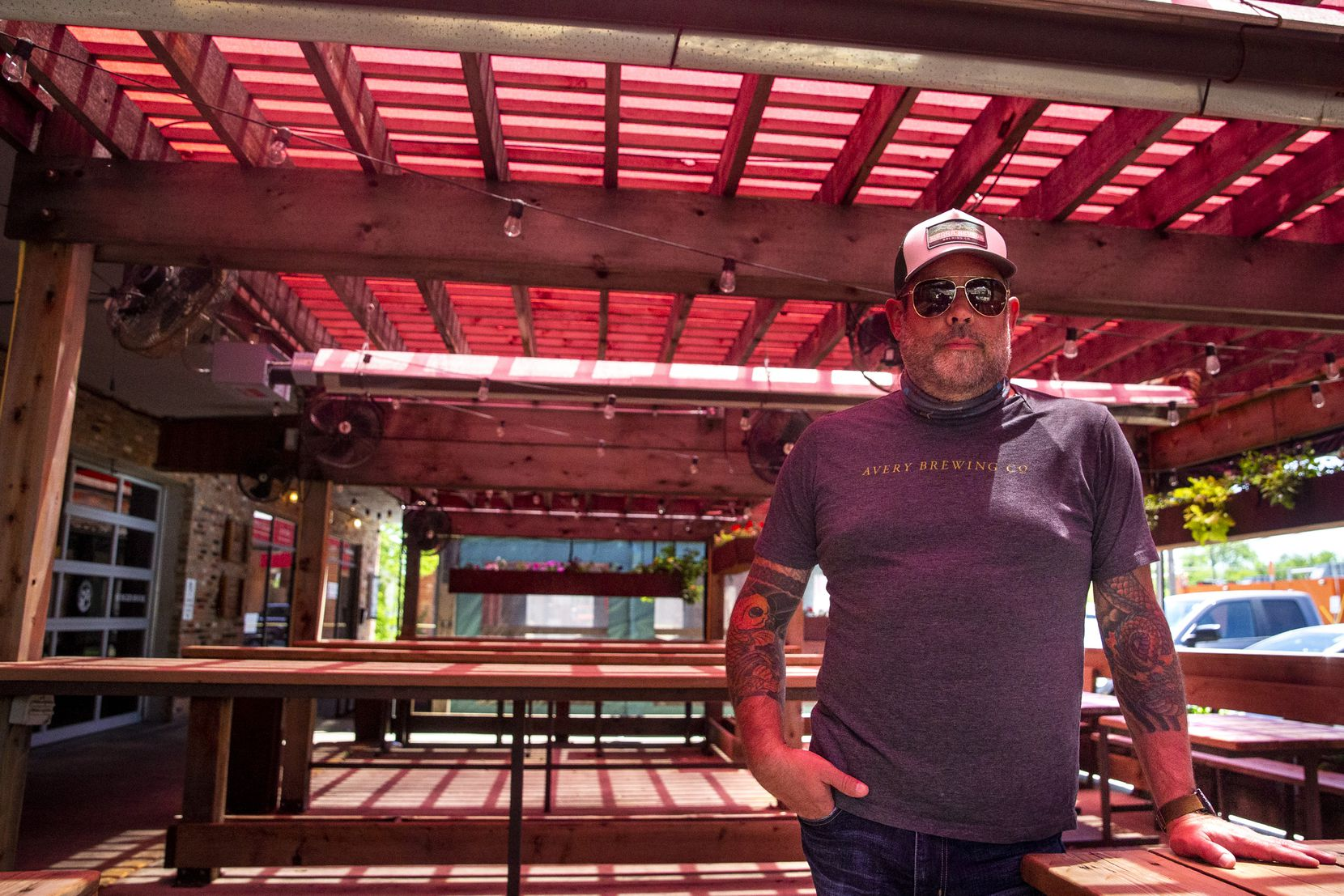 Owner Matt Tobin poses for a portrait outside of Goodfriend Beer Garden & Burger House in East Dallas on Friday, May 1, 2020. Tobin said his businesses will remain take-out only for the time being, regardless of the state allowing restaurant businesses to reopen to dine-in customers under certain parameters.