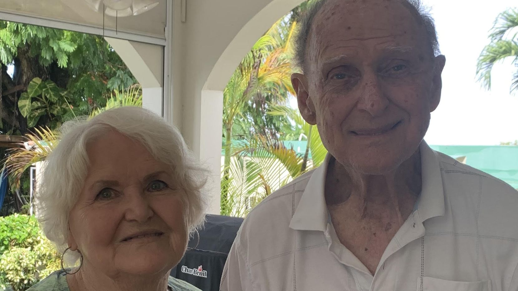Bonnie and Bill Jennings, of Arlington, Texas, traveled to Barbados on American Airlines in early March to visit their daughter and son-in-law, who live there year round. But they became stranded  after the coronavirus pandemic caused Barbados to shut down its borders. They have been waiting ever since for a return flight to Dallas, while they continue to stay at their daughter's home as shown here on Sept. 29, 2020. They're now scheduled for a return flight on Monday, Oct. 12, 2020.