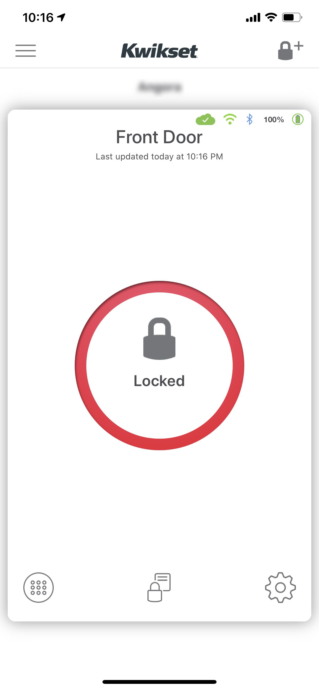 The main screen of the Kwikset app lets you see the lock status and lock or unlock the door.