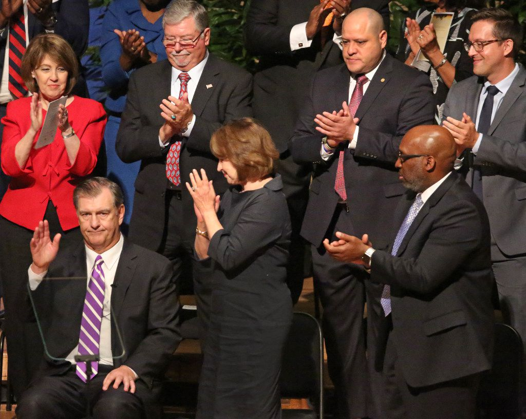 Dallas mayor Mike Rawlings gets a standing ovation after his remarks after the Dallas City Council is sworn in at a ceremony at the Morton H. Meyerson Symphony Center in Dallas on Monday, June19, 2017. (Louis DeLuca/The Dallas Morning News)