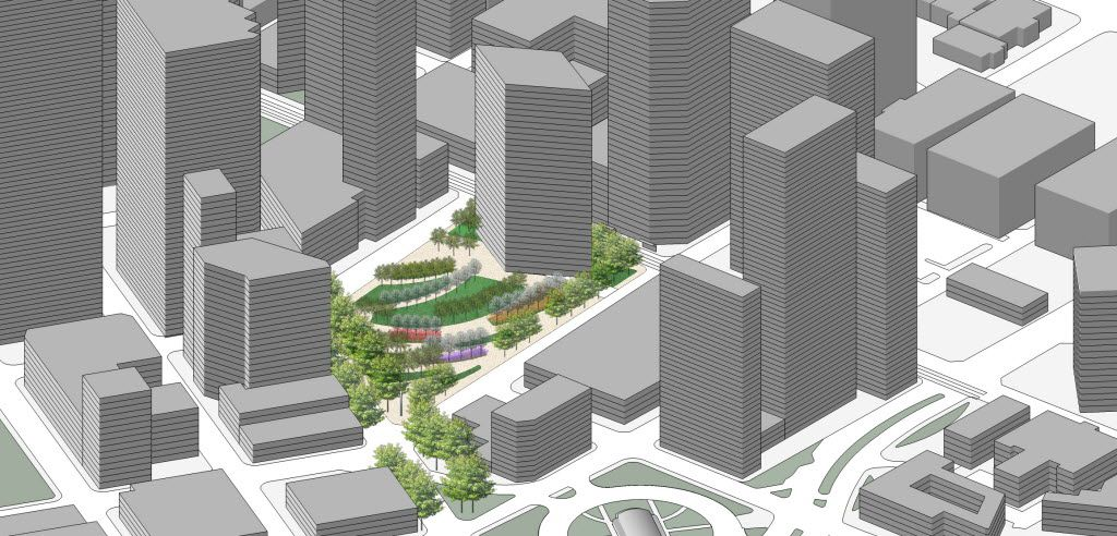 A conceptual rendering showing an aerial view of the location for Pacific Plaza.  The Belo Foundation announced an ambitious plan Thursday, Oct. 29, 2015 to realize a longstanding vision for downtown by creating 17 acres of new green space through the construction of four major parks. The plan calls for $70 million in private and public funding to build the parks within the next 10 years, with the Belo Foundation pledging $30 million toward the effort. The four parks Ã' Harwood Park, Carpenter Park, Pacific Plaza and West End Plaza Ã' were listed as high priorities in the 2013 update of the downtown parks master plan.
