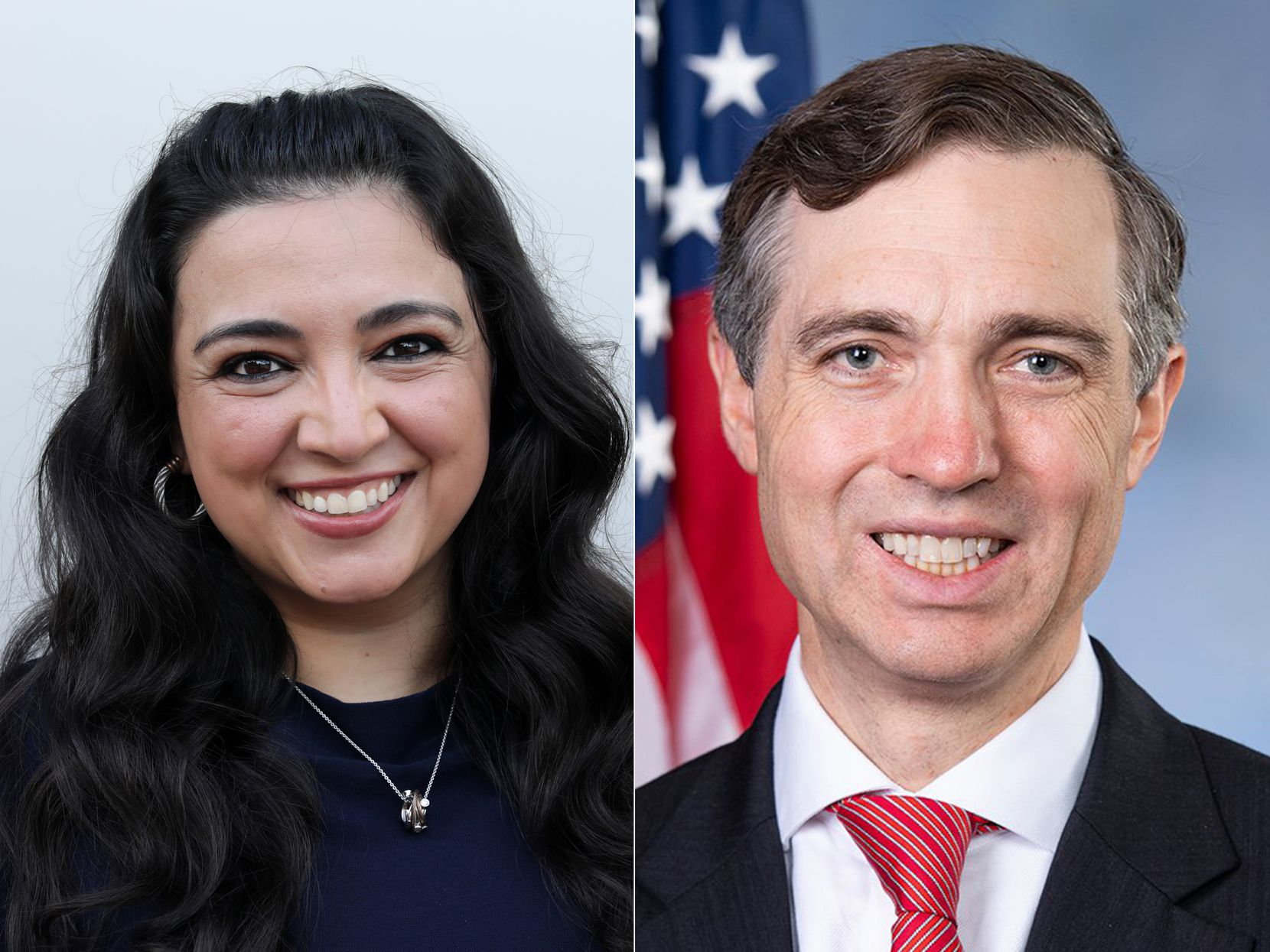 Lulu Seikaly, left, photographed in downtown Plano, TX, on Sep. 17, 2020. U.S. Rep. Van Taylor, R-Plano shown in this undated photo.