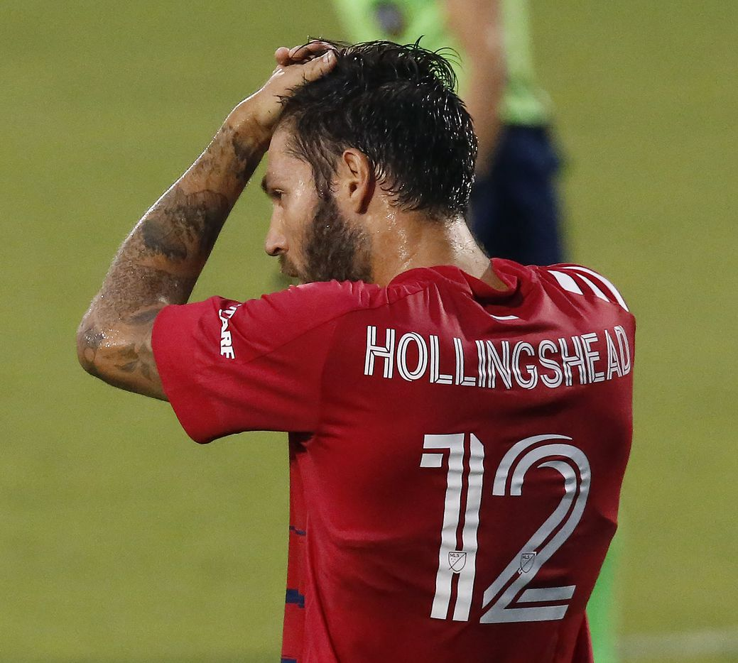 FC Dallas midfielder Ryan Hollingshead (12) reacts to a missed opportunity during the first half as FC Dallas hosted Sporting Kansas City at Toyota Stadium in Frisco on Saturday evening, August 14, 2021. (Stewart F. House/Special Contributor)