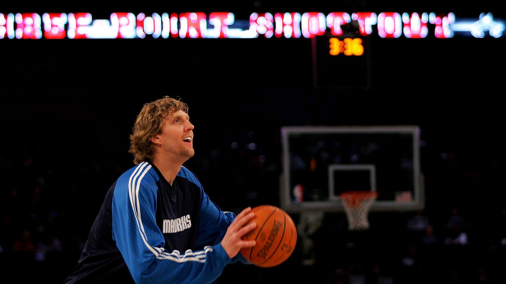 NEW ORLEANS - FEBRUARY 16: Dirk Nowitzki of the Dallas Mavericks warms up for the Foot Locker Three-Point Shootout, part of 2008 NBA All-Star Weekend at the New Orleans Arena on February 16, 2008 in New Orleans, Louisiana. NOTE TO USER: User expressly acknowledges and agrees that, by downloading and or using this photograph, User is consenting to the terms and conditions of the Getty Images License Agreement. (Photo by Ronald Martinez/Getty Images)