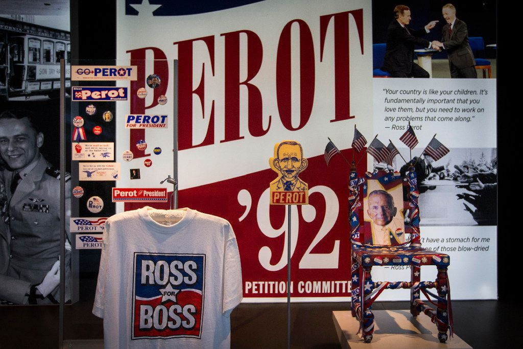 A display of items from H. Ross Perot's 1992 presidential campaign is seen during a tour of the new headquarters for The Perot Companies on Monday, March 20, 2017, in Dallas. (Smiley N. Pool/The Dallas Morning News)