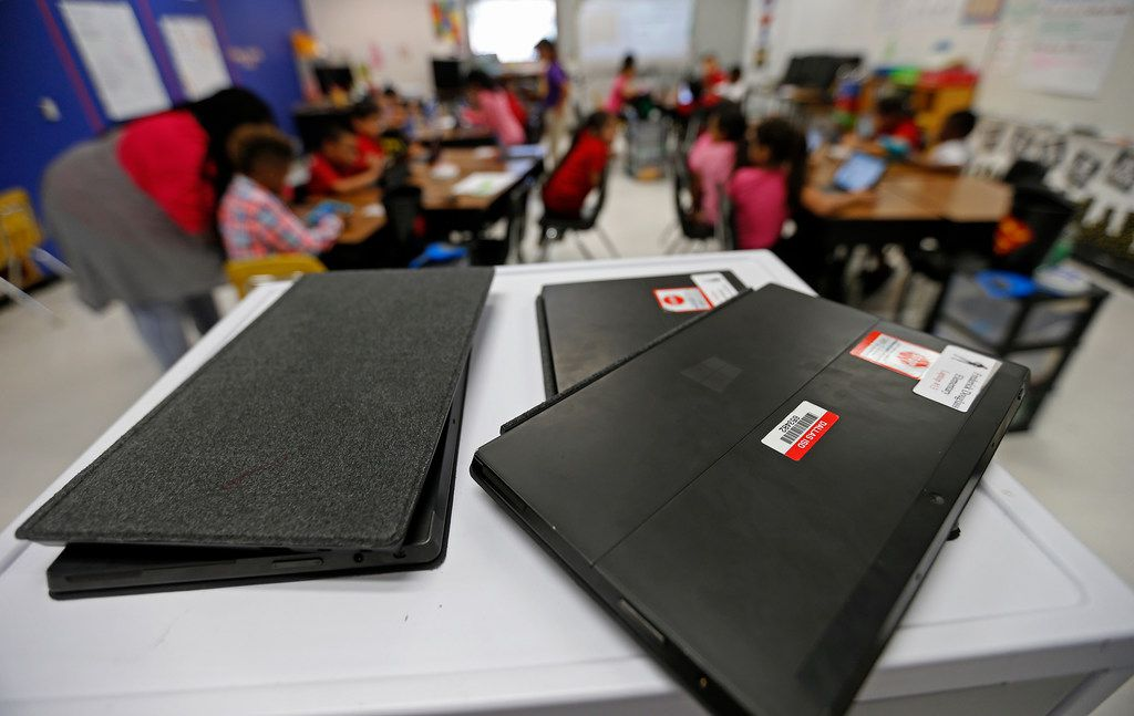 Tablet computers sit on the desk during a coding class at Frederick Douglass Elementary in Dallas, Thursday, Oct. 12, 2017. (Jae S. Lee/The Dallas Morning News)