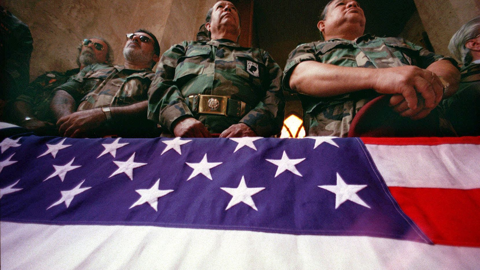 Members of Texas Vietnam Veterans honored Roy Benavidez at his funeral in 1998. The flag had draped the casket of Benavidez.