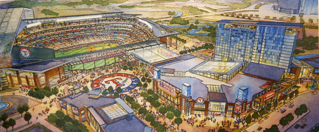 An artist rendering is not a photograph, but this is part of the vision that backers of a new, retractable-roof stadium plan for the Rangers. Arlington voters will decide Nov. 8 whether to commit $500 million in tax dollars toward building that stadium.