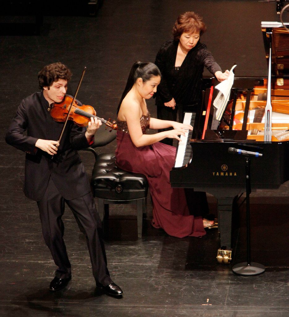 Violinist Augustin Hadelich and pianist Joyce Yang performed Beethoven's Sonata No. 8 in G major during the Chamber Music International Concert on Friday, Dec. 2, at the Dallas City Performance Hall.  (Ben Torres/Special Contributor)