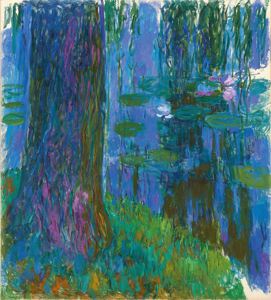 """Claude Monet (French, 1840-1926) """"Weeping Willow and Water Lily Pond"""" 1916-19 Oil on canvas 78 3/4 x 70 3/4 in. (200 x 180 cm)"""