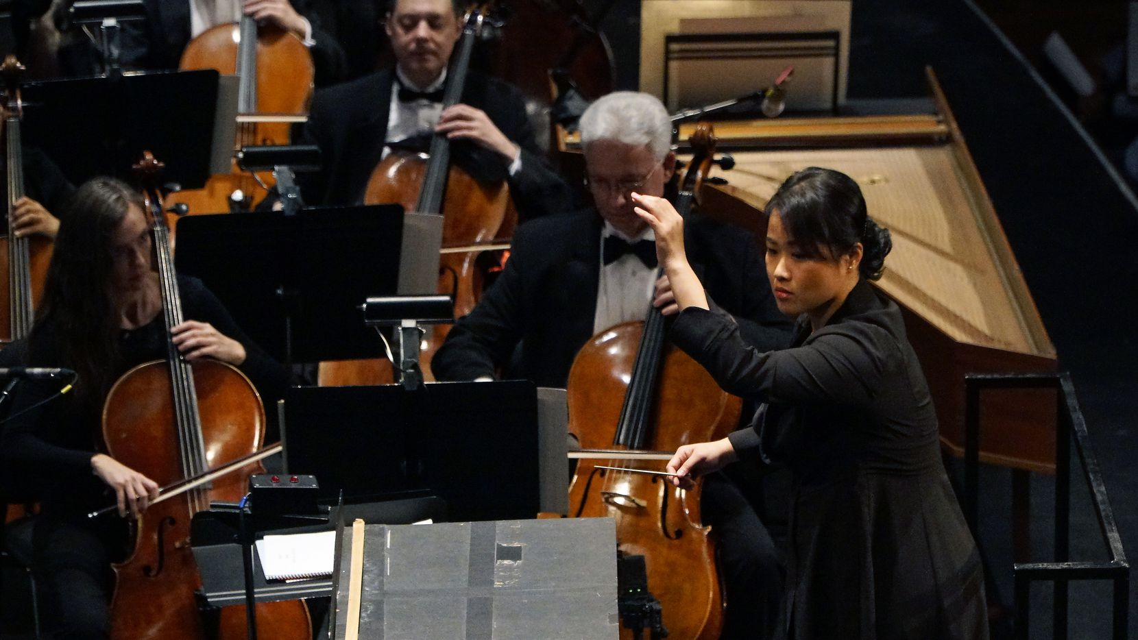 Chi-Chen Madeleine Tsai conducts the Dallas Opera Orchestra during the Hart Institute for Women Conductors showcase concert at the Winspear Opera House in Dallas on Nov. 9, 2019.
