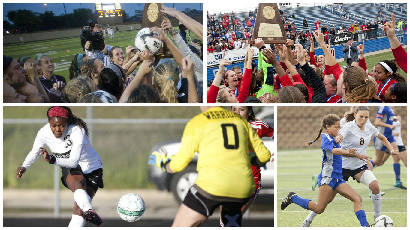 Top left: The Flower Mound girls celebrate winning the 6A state championship. Top right: The Frisco Centennial girls celebrate their 5A state title. Bottom left: Ally Griffin scored 49 goals last year and now Southlake Carroll is ranked No. 2 in the nation. Bottom right: Rachel Wasserman (8) and Highland Park are ranked No. 8 nationally.