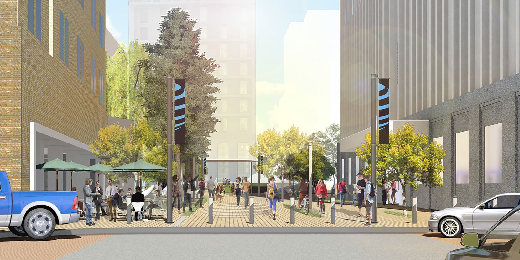 A block of Akard Street between AT&T's downtown buildings would be turned into a pedestrian plaza.