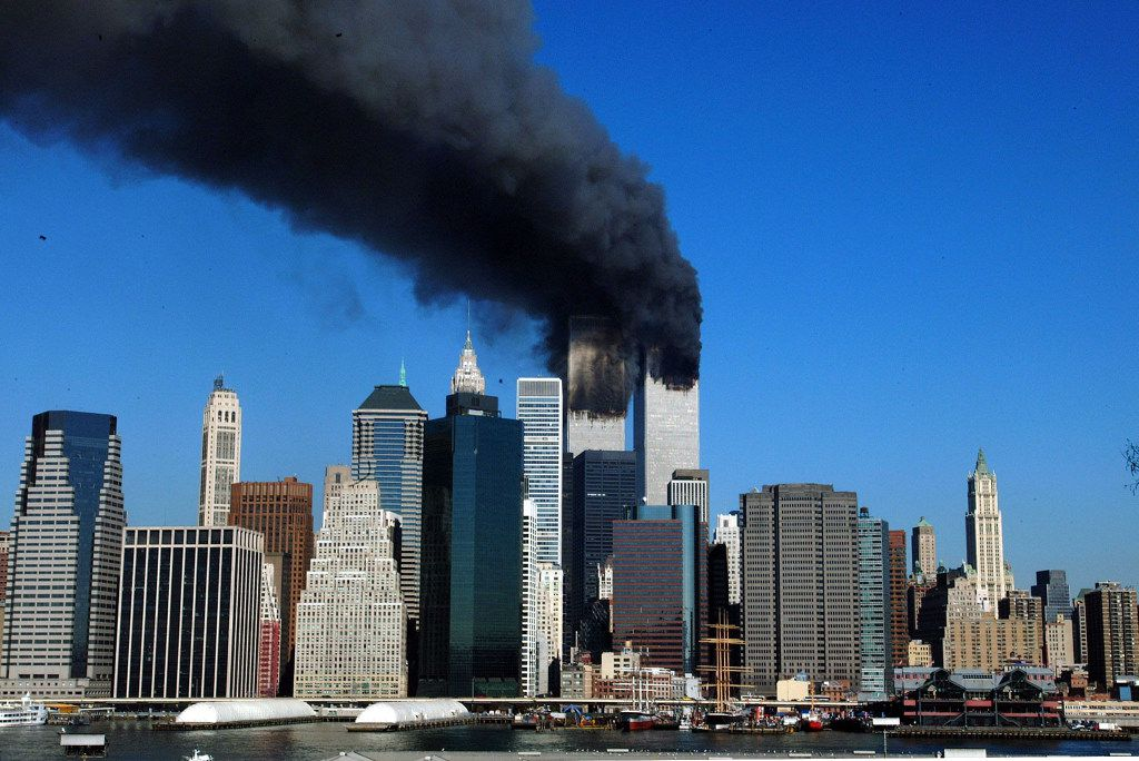 Smoke billowed from the World Trade Center towers after planes crashed into them on Sept. 11, 2001.