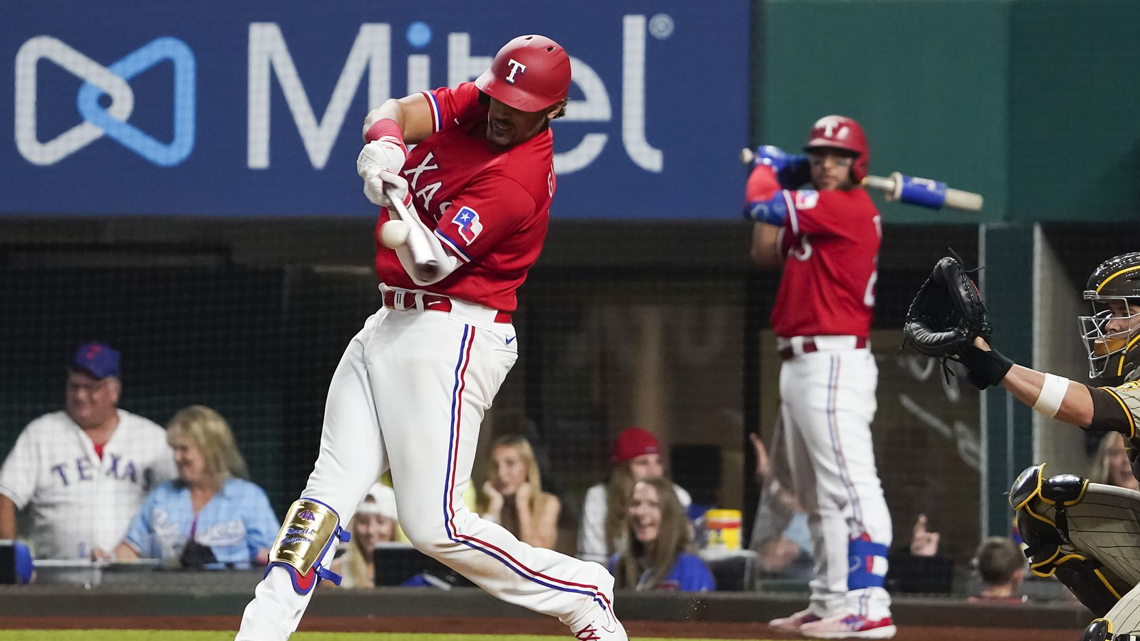 Texas Rangers first baseman Ronald Guzman grounds out against San Diego Padres starting pitcher Joe Musgrove during the eighth inning at Globe Life Field on Friday, April 9, 2021.