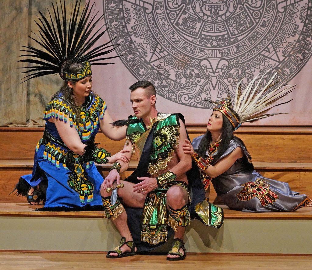 American Baroque Opera Company's Aztec characters in Antonio Vivaldi's opera Montezuma were costumed in flamboyant quasi-native attire designed by Arturo Hernandez.