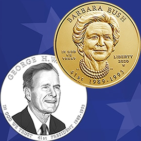 George H.W. Bush Presidential $1 Coin and the Barbara Bush First Spouse Gold Coin were unveiled by the U.S. Mint on Tuesday.