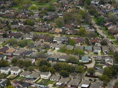 Aerial view of residential neighborhood near West Mesquite High School on Thursday, March 12, 2020.